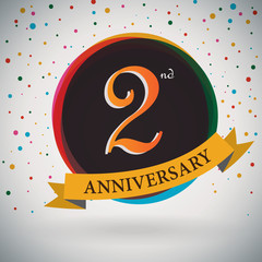 2nd Anniversary poster/ template retro style -Vector Background