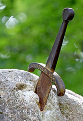 sword excalibur of King Arthur stuck in the rock