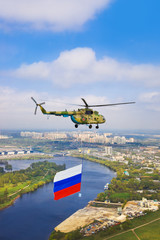 Helicopter with russian flag over Moscow at parade of victory da