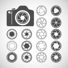 camera shutter icon set, vector eps10