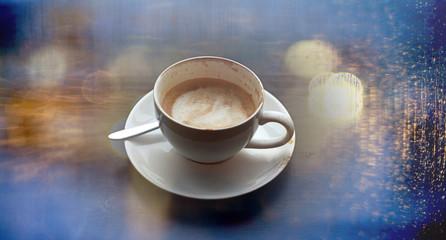 cup of cappuccino, rain fall