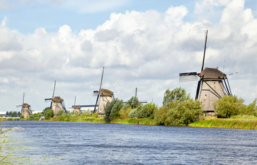 Windmills standing in a row, Kinderdijk