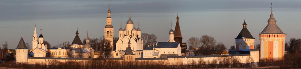morning winter snow church Russia