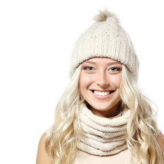 christmas girl, young beautiful smiling girl over white backgrou