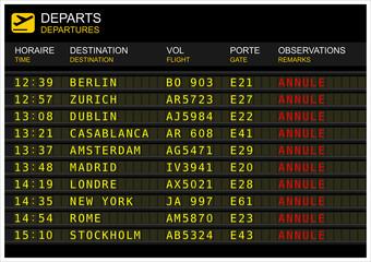 Tableau des départs de vols. « vol annulé »