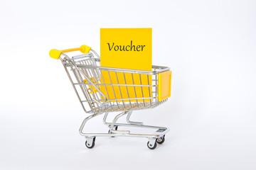 Voucher shopping cart yellow