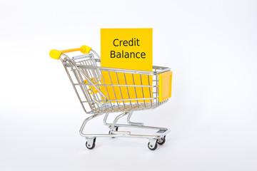 Credit balance shopping cart yellow
