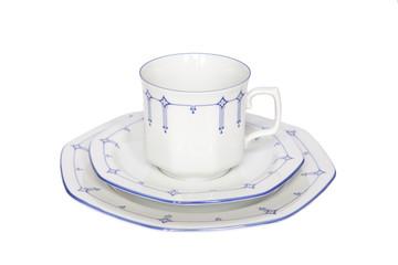 Porzellan Gedeck Kaffee Freisteller
