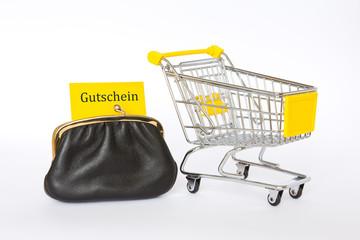 Gutschein Geldbeutel Einkaufswagen gelb