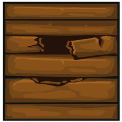Wood planks crack isolated illustration