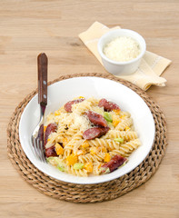 fusilli with sausage and parmesan