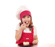 hungry little cook girl eat cake