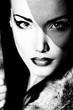 portrait of beautiful young woman, black and white retro styliza