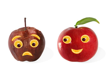 Creative food. Positive and negative portraits made ??from apple