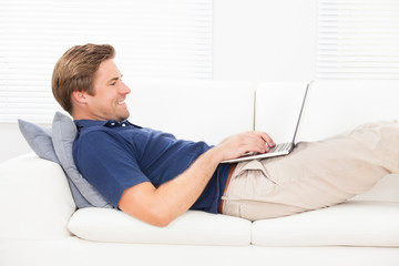 Smiling Man Using Laptop On Sofa