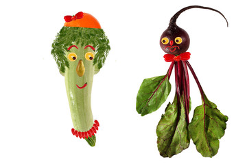 Funny portrait made ??of zucchini,  beet  and fruits