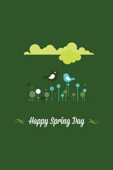 Vector illustration with happy spring and