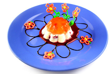 Creamy and orange jelly