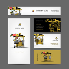 Set of business cards design, street market