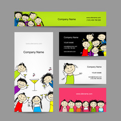 Set of business cards design with party girls