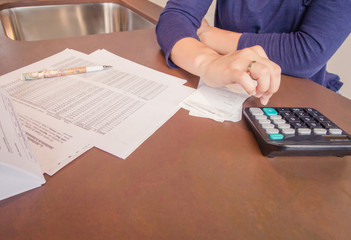 Unemployed and divorced woman review monthly bills