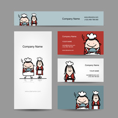 Design of business cards with chef cook cartoon