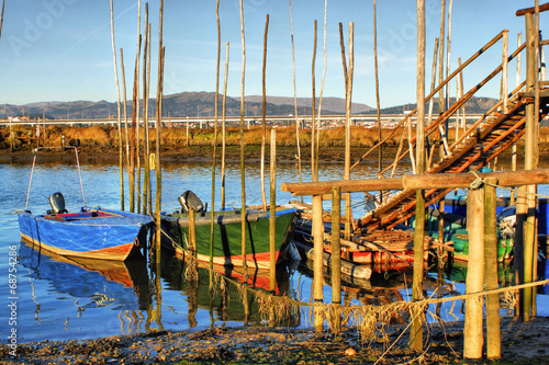 Traditional wooden boats in Lima river, Portugal