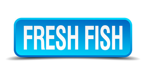 fresh fish blue 3d realistic square isolated button