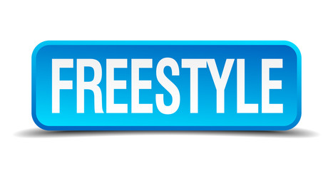 freestyle blue 3d realistic square isolated button