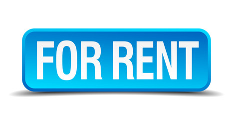 for rent blue 3d realistic square isolated button