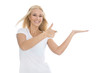 Handfläche: Mädchen präsentiert ein Produkt auf der Handfläche