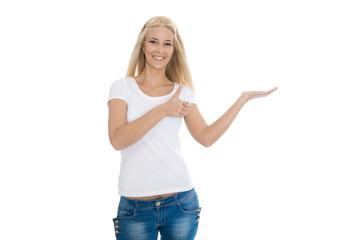 Produkt Präsentation mit der Hand: junges Mädchen