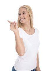 Zeigefinger Konzept: Weiblicher Teenager zeigt mit dem Finger
