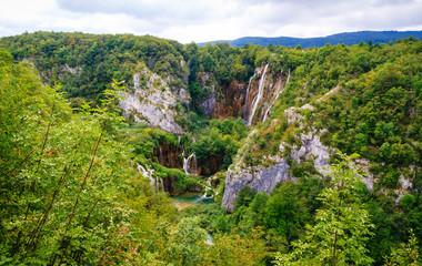 Beautiful Waterfall Cascades at Plitvice lakes, Croatia