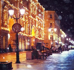 city ​​pedestrian street night city lights