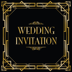 gatsby art deco wedding invite