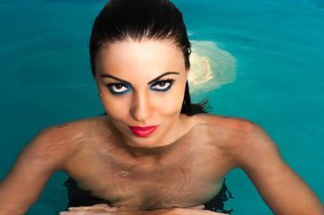 sexy look women in water