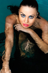 fashion beauty sexy face women in water