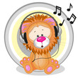 Lion with headphones