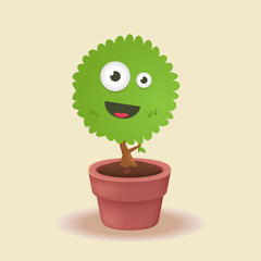 Smiling face in a plant