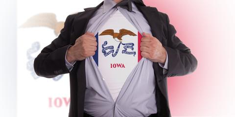 Businessman with Iowa flag t-shirt