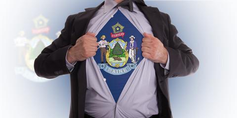 Businessman with Maine flag t-shirt
