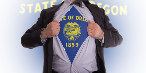 Businessman with Oregon flag t-shirt