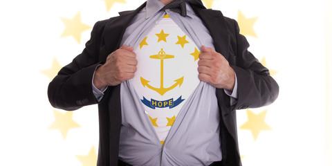 Businessman with Rhode Island flag t-shirt