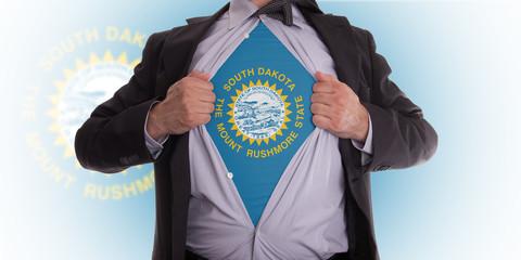 Businessman with South Dakota flag t-shirt