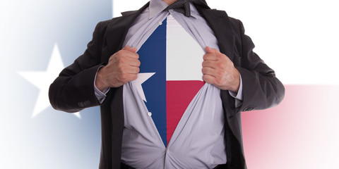 Businessman with Texas flag t-shirt