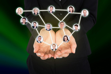 Businesswoman Holding Connected Team Representing