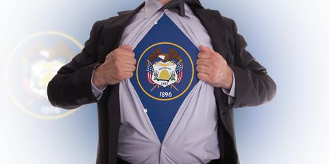 Businessman with Utah flag t-shirt