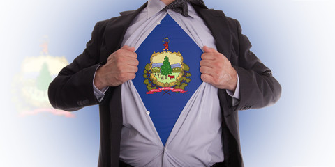 Businessman with Vermont flag t-shirt