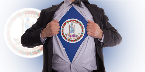 Businessman with Virginia flag t-shirt
